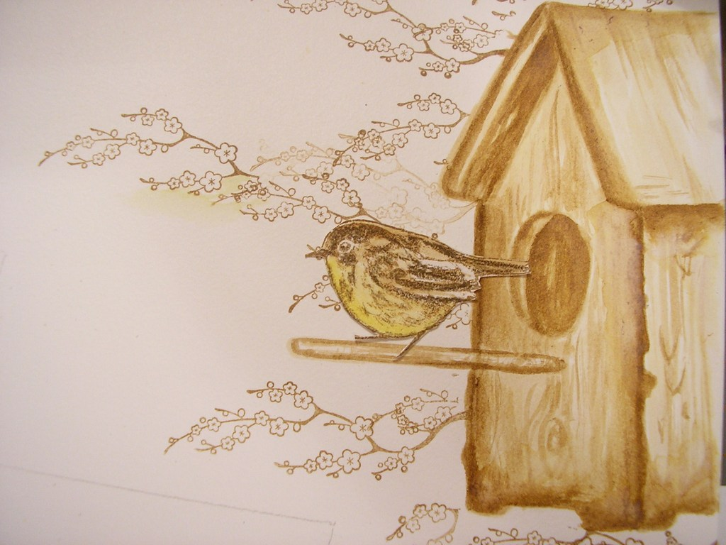 Как нарисовать кормушку поэтапно